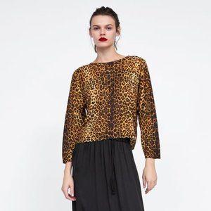 ZARA Leopard Print Knit Sweater